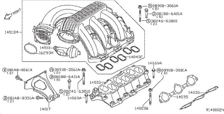 Nissan Frontier Engine Intake Manifold Bolt  Exhaust