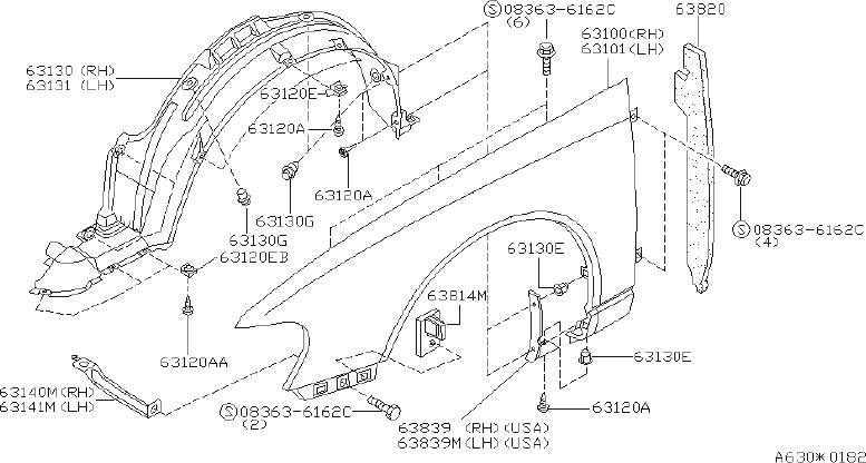 Nissan Altima Fender Splash Shield  Left  Front   Fitting