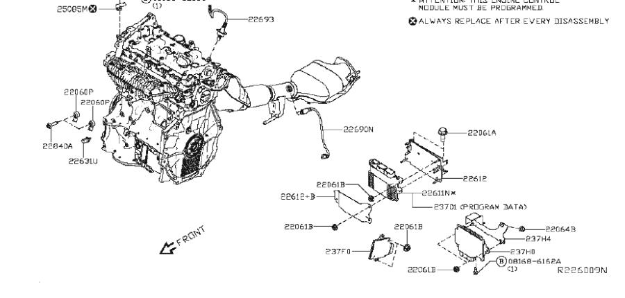Nissan Altima Oxygen Sensor (Rear). MODULE, ENGINE ...