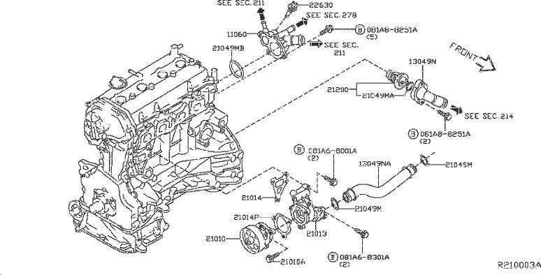 Nissan Pathfinder Engine Water Pump Gasket  Cooling