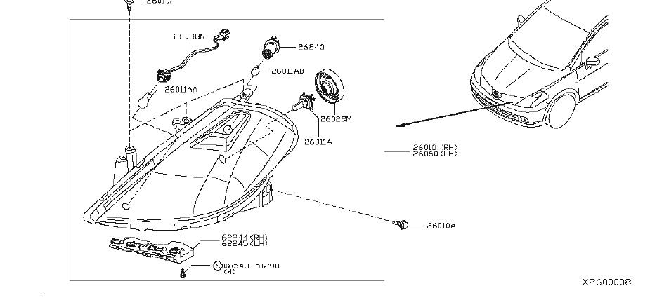 Nissan Versa Headlight Wiring Harness