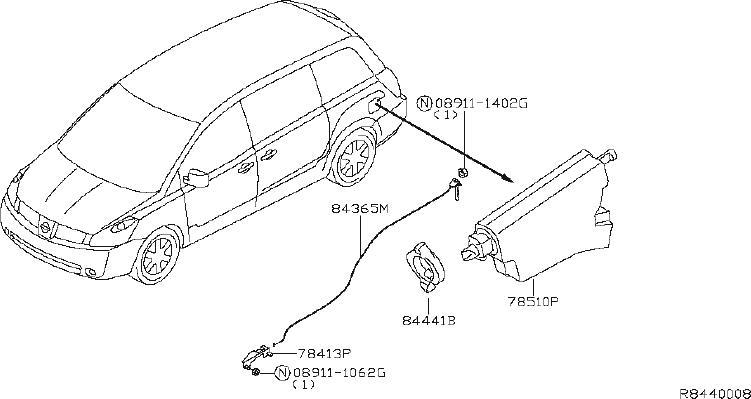 Nissan Quest Fuel Filler Door Release Cable  Power